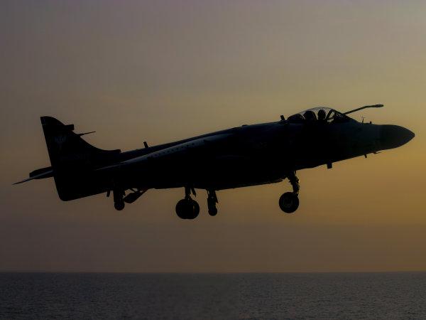 Sea Harrier - dusk landing.