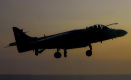 Sea Harrier - dusk landing.