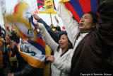 Activists for free Tibet demonstrating against Olympic Torch Relay