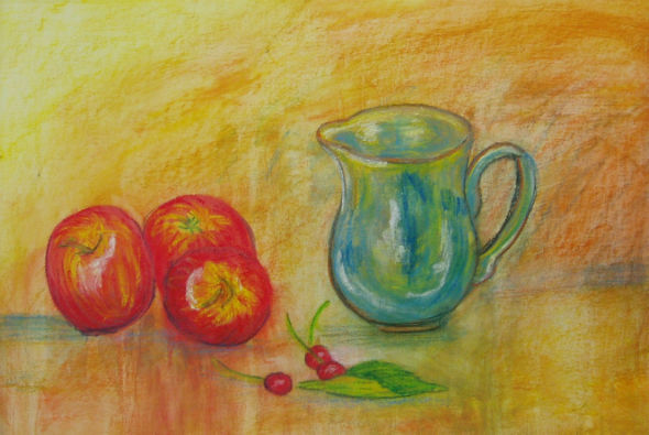 Jug with Apples and Cherries