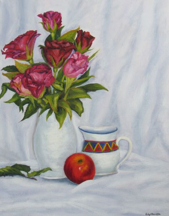 Roses with Apple and Jug