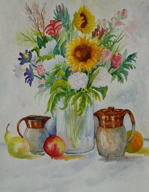Sunflowers and Jugs