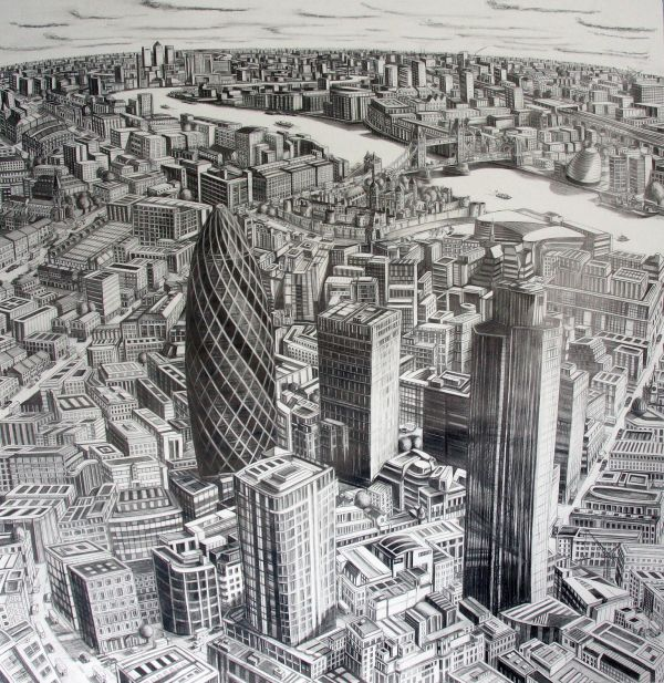 City of London towards Canary Wharf. 2009