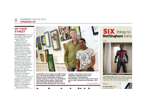 Nottingham Evening Post Article- Celebratory Exhibition, N.S.A July 2015