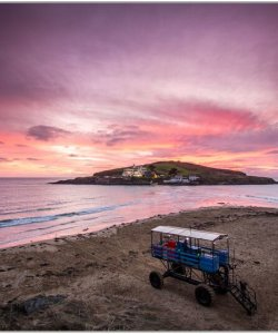 sunset over burgh  island Russ McGowan