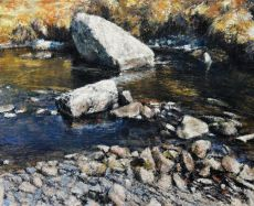 afon conwy: stream stones
