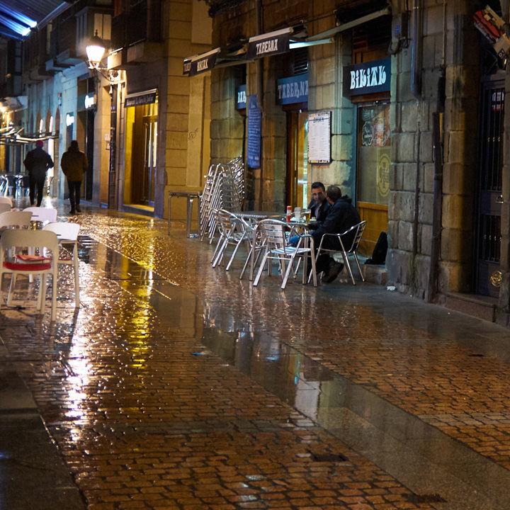 Smoking on a rainy night