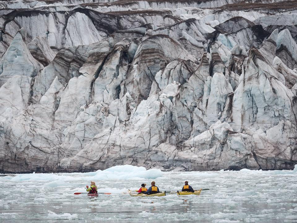Kayakers at 14th July Glacier