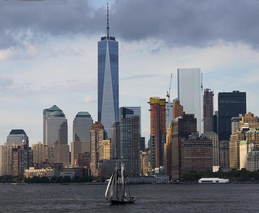 NY city from Staten Ferry