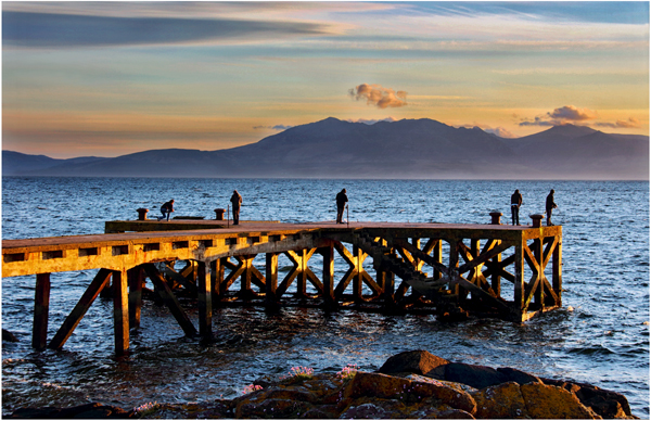 Fishing at sunset, Portencross