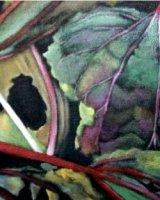 "Rhubarb, acrylic on canvas, 30"" x 16"", 2010"