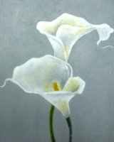 "Calla Lily, acrylic on canvas, 8"" x 8"", 2016"