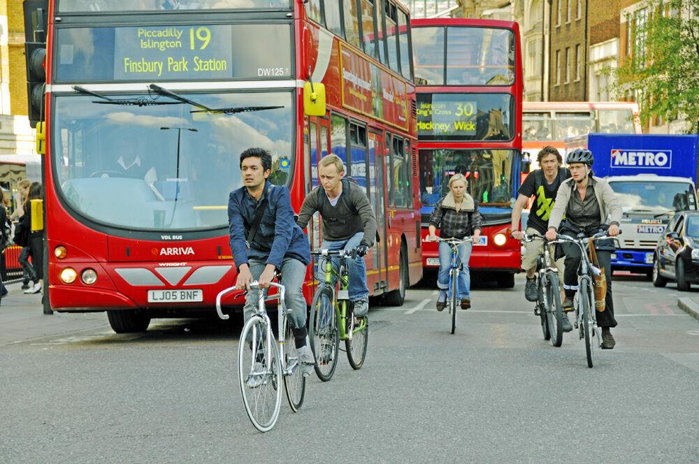 Commuter cyclists, Angel, Islington