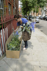 Lady recycling cut flowers