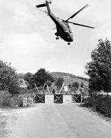 37 British Army Helicopter blocking 'Unapproved Road' at Forkhill