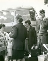06 French Student Chantal Guillet arrives in Dundalk, Peter Mc Gourty on right. c. 1960's