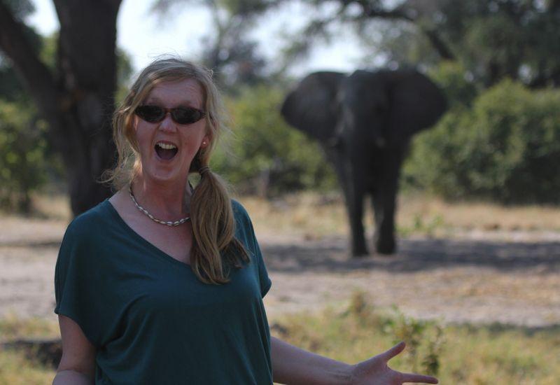 Jenny with Bull Elephant.