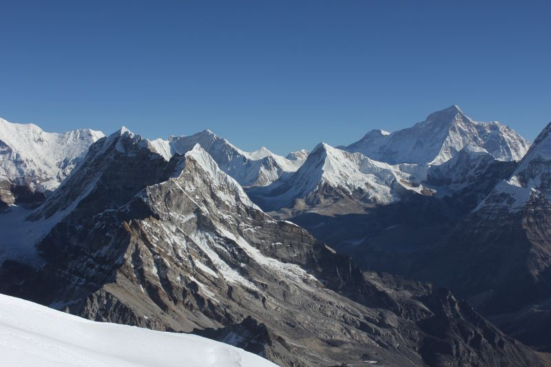 Near the summit with view of Makalu