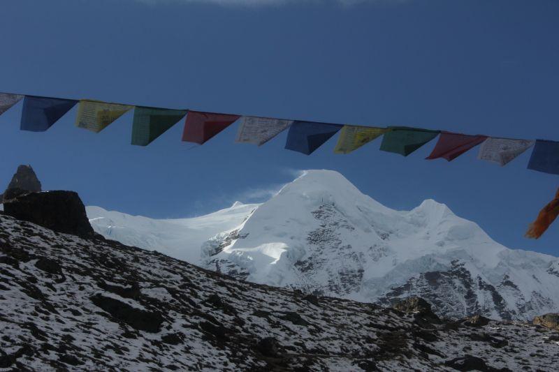 Prayer flags over Mera Peak