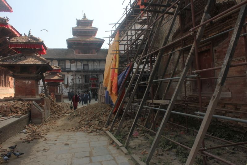 Earthquake aftermath in Durbar Square Kathmandu