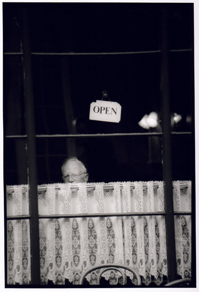 Cafe window, (Open) Bath Abbey Church Yard 1995