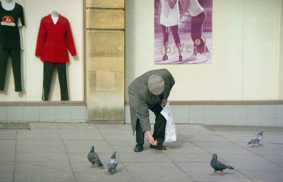 pigeon feeder with headless mannequins, Lower Borough Walls 2000