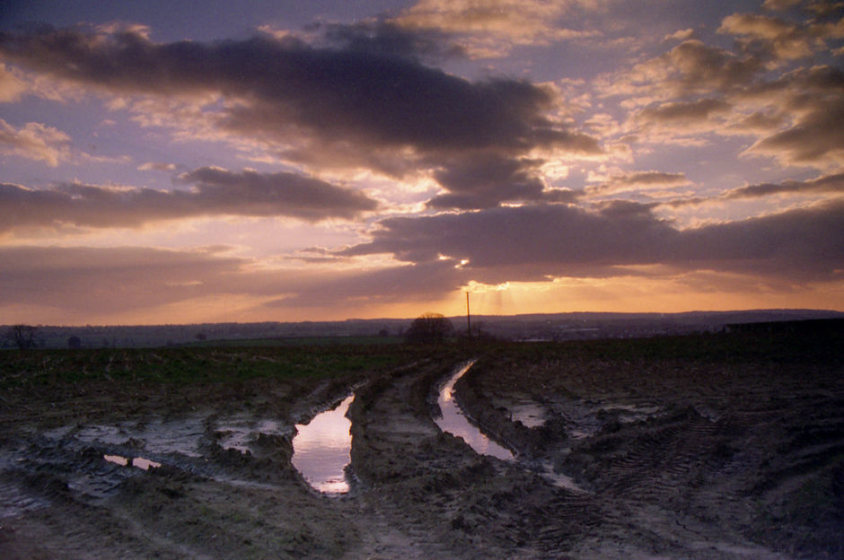 Ploughed field at dusk; Writhlington 1995