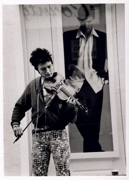 playing the electric violin, Burton Street, Bath 1995