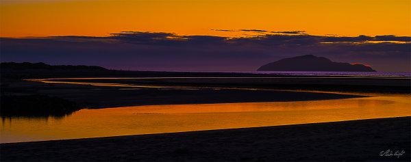 Kapiti Island and Waikawa Beach at sunset