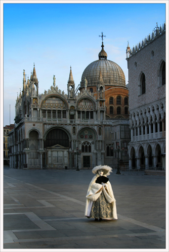 Lone figure St Marks Square (*)