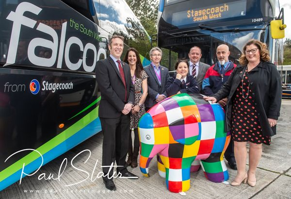 Publicity image for St Luke's Hospice and Stagecoach South West for the promotion of the Elmer campaign.
