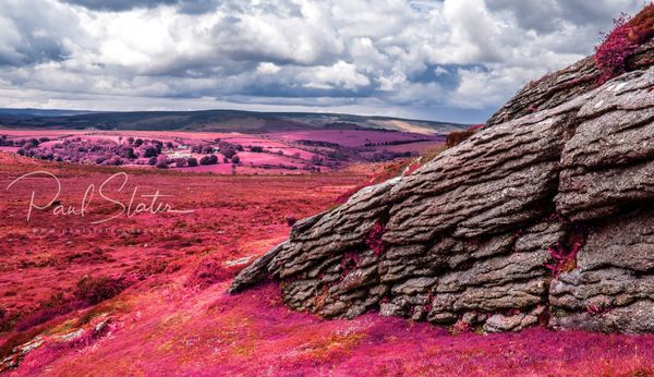 False colour Dartmoor infrared landscape - View from Haytor