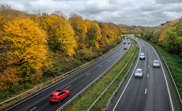 Fine display of autumnal colours along the Plymouth bound A38.