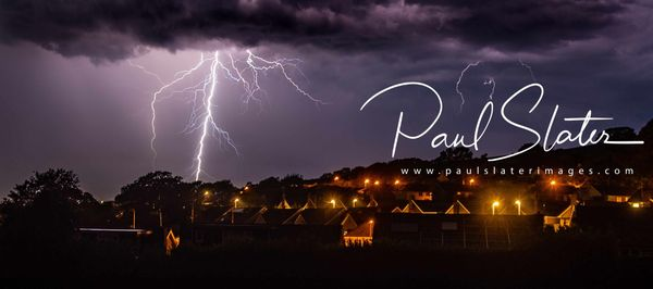Lightning storm pictured above Plymouth as seen from Ivybridge, Devon