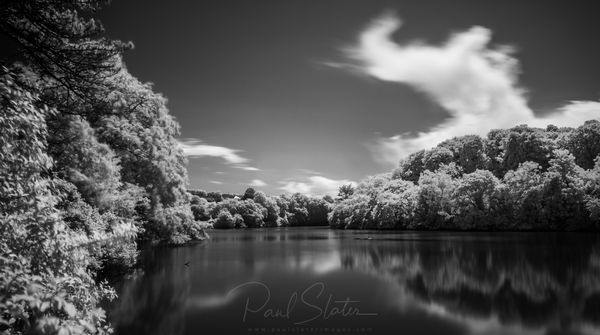 black and White infrared landscape - Radford Lake,  Plymouth
