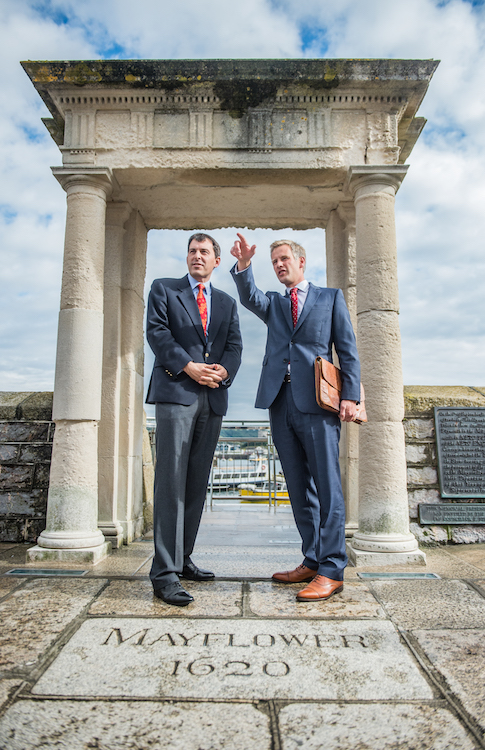 Mayflower 400 Committee Chief Executive Charles Hackett (r) with Parliamentary Under Secretary of State for Arts, Heritage and Tourism John Glen pictured at the Mayflower Steps, Plymouth re Mayflower 400 celebrations.