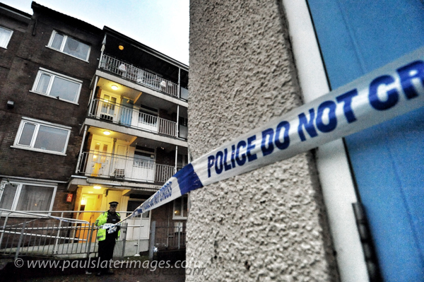 Scene of a fatal fire at a block of flats in Plymouth.