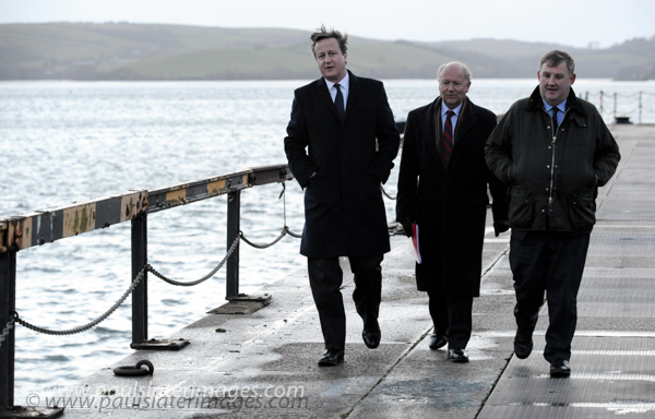 David Cameron Pictured here as Prime Minister during a visit to Devonport Dockyard, Plymouth.