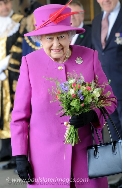 HRH Queen Elizabeth arrives in Plymouth.