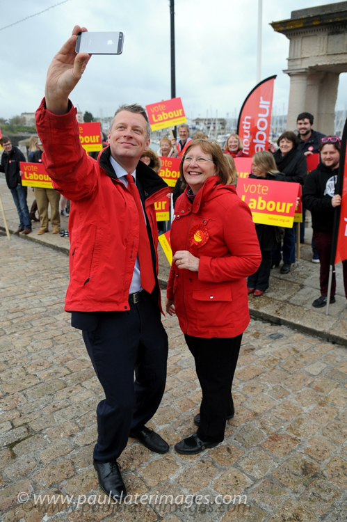 Labour MP Alison Seabeck pictured with Luke Pollard (now MP) during a Labour Party campaign at the Mayflower steps, Plymouth.