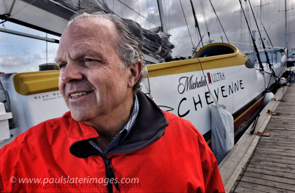 Portrait of adventurer Steve Fossett during his brief stay in Plymouth after arriving his his yacht Cheyenne