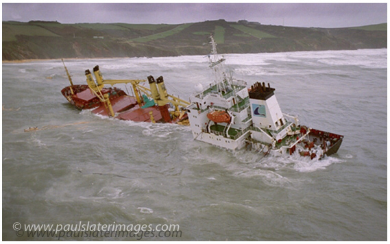 The sinking vessel Kodima pictured from a helicopter of the coast in Cornwall.