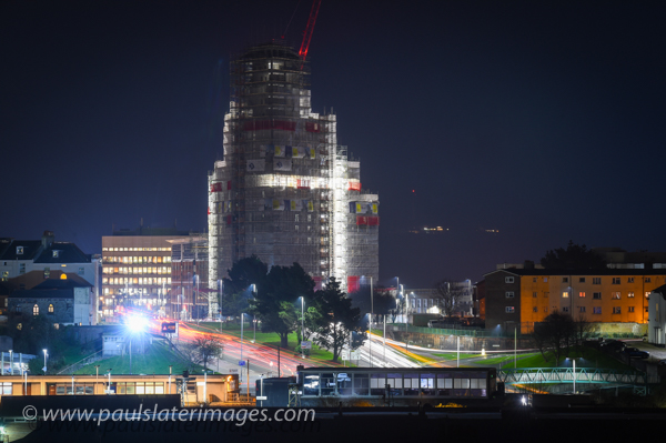 Night shot of Beckly Point Plymouth's tallest building under construction by Kier Western