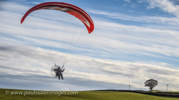 Paraglider Pilot and Photographer Dan Burton in the skies above Devon