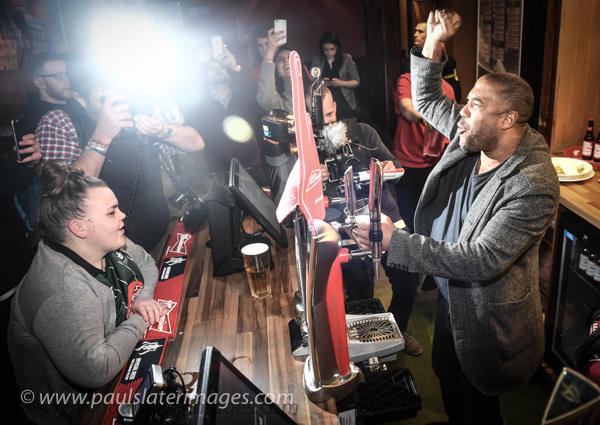 John Barnes, Liverpool legend for a promotional event for Carlsberg in Plymouth