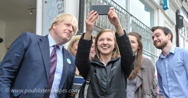 Boris Johnson on the campaign trail in Plymouth, Devon