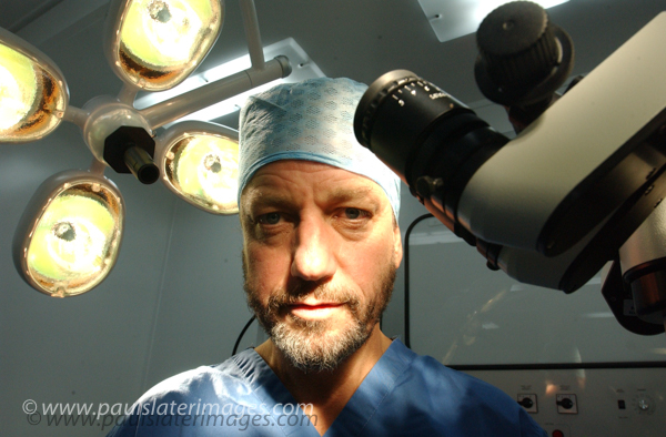 Surgeon portrait, for medical feature at Derriford Hospital.