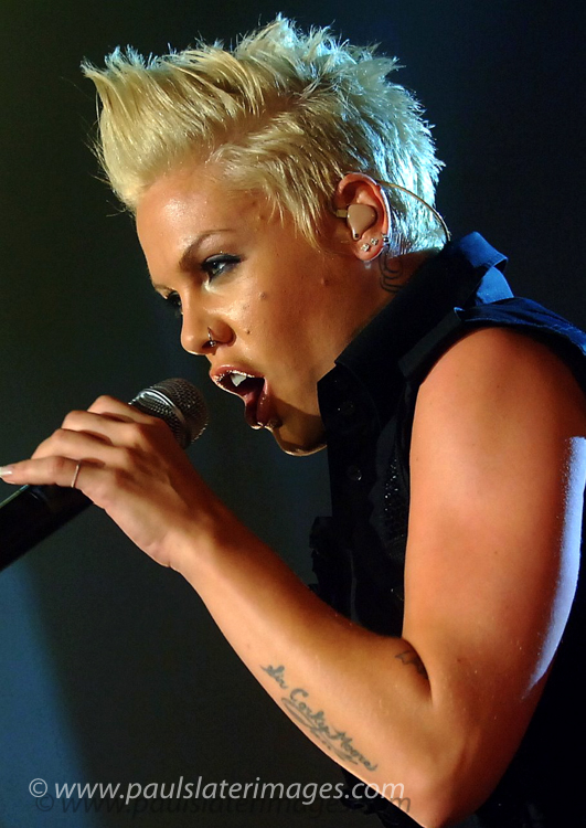 P!nk performing during a concert in Plymouth, Devon.