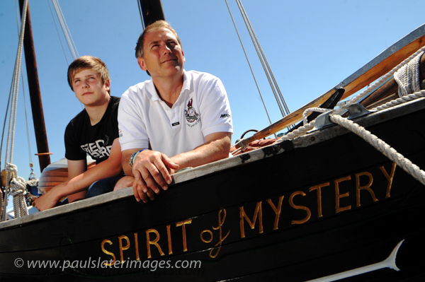 Pete Goss and his son onboard their boat Spirit of Mystery.