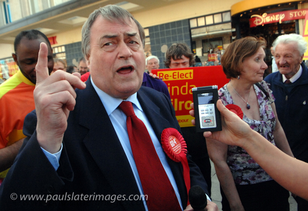 John Prescott on the Labour Party campaign trail in Plymouth, Devon.